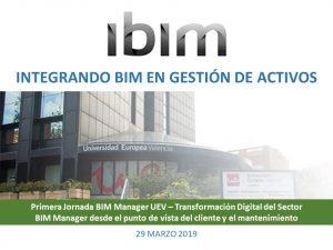 Ibim participa en la Primera Jornada BIM Manager UEV – Transformación Digital del Sector